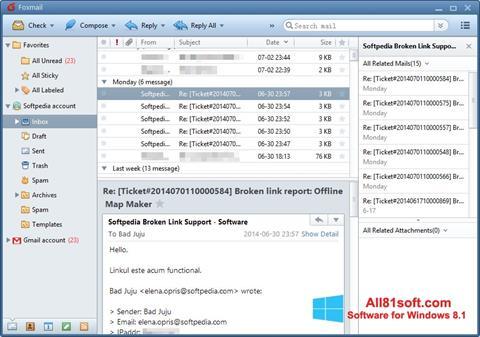 스크린 샷 FoxMail Windows 8.1