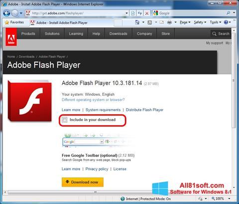 스크린 샷 Adobe Flash Player Windows 8.1