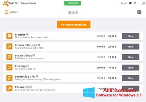 스크린 샷 Avast Free Antivirus Windows 8.1