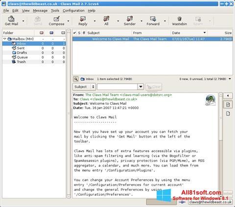 스크린 샷 Claws Mail Windows 8.1