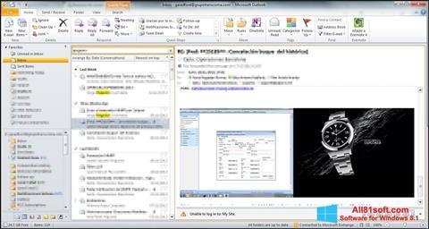 스크린 샷 Microsoft Outlook Windows 8.1