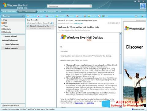 스크린 샷 Windows Live Mail Windows 8.1