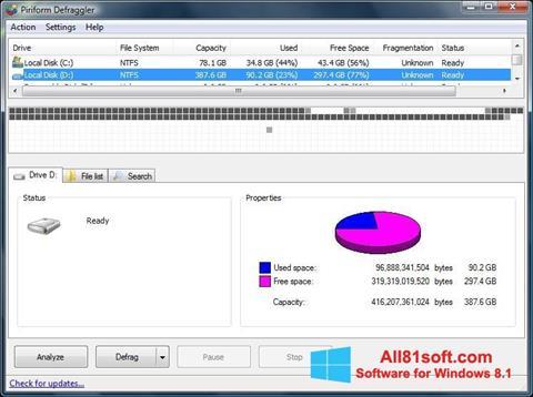 스크린 샷 Defraggler Windows 8.1