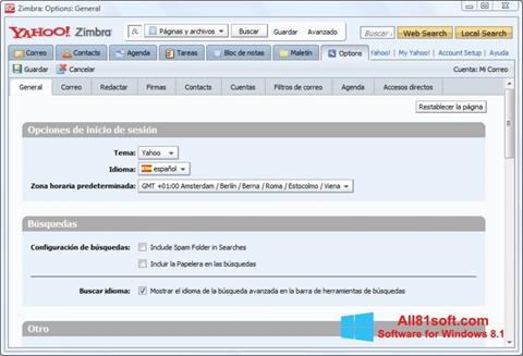 스크린 샷 Zimbra Desktop Windows 8.1